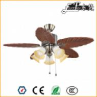 46 inch natural wood rural ceiling fan 5 lights